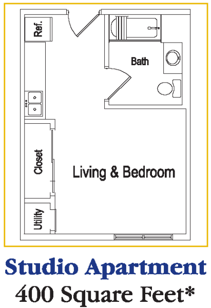 Senior living at the residences at deer creek for Efficiency apartment floor plans